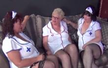 Three big busty nurses in lesbian act