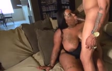Oiled up ebony BBW pleases her horny man