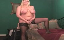 Chubby blonde pleases herself