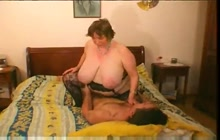Fat French granny riding a young stud