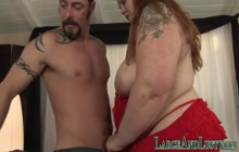 Big redhead gets plowed and jerks cock