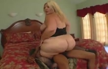 Huge ass blonde banged by a black guy