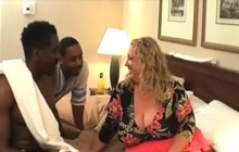 BBW fucking with 2 black dudes in a hotel room