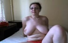 Big boobed BBW flashing her tits on webcam