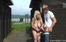 Chubby Mature Rides Boy Outdoor