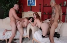 Two fat whores group banged