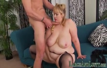 Large busty blonde babe gobbles cock
