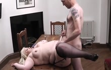BBW fucked on a kitchen table