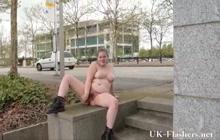 Fat girl flashing her body in public
