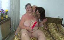 Two bbw lesbians doing dildo fucking