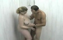 Fat girl fucked under the shower