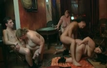 Group sex in the fatty pub