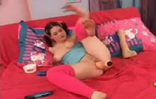 Chubby Pigtailed Teen Toys Both Holes