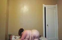 BBW gives head in front of the camera