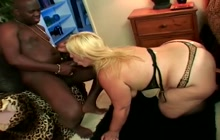 Fat older woman sucking a BBC