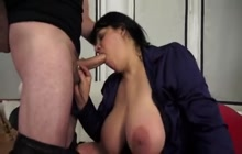 Horny big busty woman anally fucked