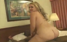 Fat white whore bends over for a hung black dude