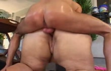 Blonde BBW fucks younger guy